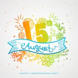 Stylish text 15th August on colorful floral decorated background.  Royalty Free Stock Photos