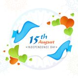 Stylish text 15th August, Indian Independence Day celebration co. Ncept with paper-hearts and blue ribbon Stock Image