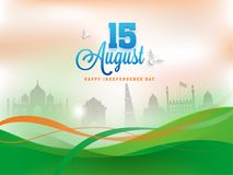 Stylish text 15th August on saffron and green waves background w. Ith monuments Royalty Free Stock Photography