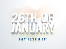 Stylish text 26th of Jan for Republic Day. 3D text 26th of January on waving National Flag background for Happy Indian Republic Day celebration Royalty Free Stock Images