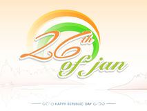 Stylish text 26th of Jan for Republic Day. Stylish National Flag colours text 26th of January on creative background for Happy Republic Day celebration Stock Images