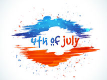 Stylish text for 4th of July celebration. Stylish text 4th of July with American Flag color paint strokes for Independence Day celebration Stock Photography