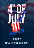 Stylish text 4th of July with Hat on blue, national flag waving. Background vector illustration