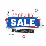 Stylish text 4th of July, Sale Banner Design on white background.  Stock Photos