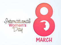 Stylish text for Women's Day celebration. Stylish pink text 8 March with young girl face for International Women's Day celebration Stock Image