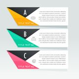 Stylish three steps infographic white banners. Vector Royalty Free Stock Images