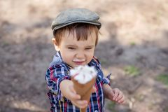 Stylish toddler boy in checkered shirt with milk moustache offering ice-cream, reaching out hand to camera. Focus on boy`s face royalty free stock image