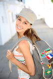Stylish tourist girl visiting Stock Photos