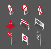 Stylish traffic signs and icons Royalty Free Stock Images
