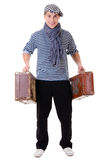 Stylish traveller man with vintage suitcase Royalty Free Stock Image