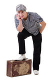 Stylish traveller man with vintage suitcase Stock Image