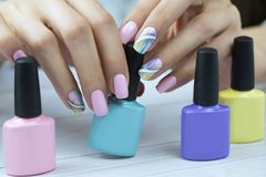 Stylish trendy female manicure stock photography