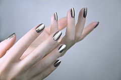 Stylish trendy female manicure stock photos