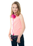 Stylish trendy girl with headphones Royalty Free Stock Photography