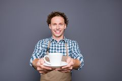 Stylish trendy nice attractive cheerful positive guy with wavy h stock image