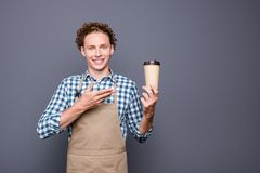 Stylish trendy nice cheerful positive guy with wavy hair in casu royalty free stock photos