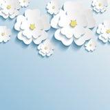 Stylish trendy wallpaper with 3d flowers sakura vector illustration