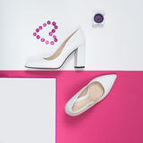 Stylish Trendy white heels . Summer fashion Outfit, Luxury Party shoes. Hipster Essentials. Minimal fashion concept Royalty Free Stock Photos