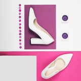 Stylish Trendy white heels . Summer fashion Outfit, Luxury Party shoes. Hipster Essentials. Minimal fashion concept Royalty Free Stock Images