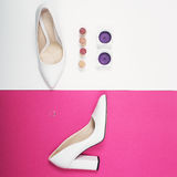 Stylish Trendy white heels . Summer fashion Outfit, Luxury Party shoes. Hipster Essentials. Minimal fashion concept Stock Photos