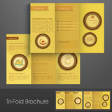Stylish tri fold brochure, template or flyer for business. Royalty Free Stock Image