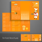Stylish tri fold brochure, template or flyer for restaurant. Stock Photos