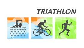 Stylish triathlon logo on white background Stock Photography
