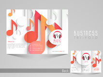 Stylish trifold brochure, catalog and flyer template for music. Royalty Free Stock Images