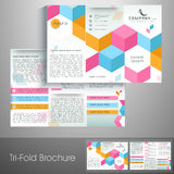 Stylish trifold brochure, template and flyer for corporate sector. Royalty Free Stock Photos