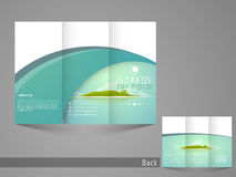 Stylish trifold flyer, broucher or catalog design for tour and travel. Royalty Free Stock Photography