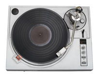 Stylish turntable cutout. 20-years old turntable is stylish now as before. There is a disk with blank label. You may put logo and text on it. Clipping path Royalty Free Stock Photography