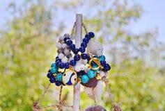 Stylish turquoise and agate gemstone bracelets advertisement royalty free stock image