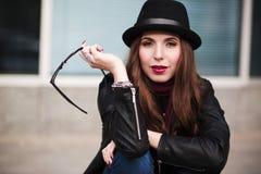 The stylish urban girl with sunglasses Stock Photo