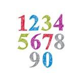 Stylish vector digits, handwritten numerals Stock Image