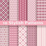 Stylish vector seamless patterns (tiling). Pink Stock Photo