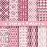 Stylish vector seamless patterns (tiling). Pink Stock Photo