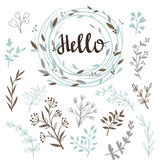 Stylish vector set of plants and wreath with a calligraphy hello. Royalty Free Stock Images