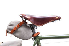 Stylish vintage bicycle saddle Royalty Free Stock Photo