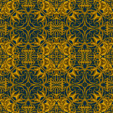 Stylish Vintage Christmas pattern in brown, yellow and gold colo Stock Images
