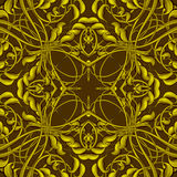 Stylish Vintage Christmas pattern in brown, yellow and gold colo Stock Image
