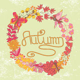 Stylish Vintage floral cards ,invitations with butterflies.Autum Stock Photography