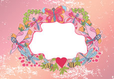 Stylish Vintage floral frame with butterflies and dragonfly Stock Photography