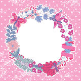 Stylish Vintage floral frame with butterflies.Lilac colors Royalty Free Stock Images