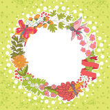 Stylish Vintage floral frame with butterflies.Polka dot backgrou Stock Photography