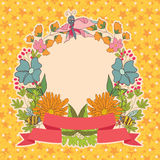 Stylish Vintage floral frame with butterflies on stars backgroun. Stylish floral frame,cards,thanks,greeting,template,background with colored flowers, plants Royalty Free Stock Image