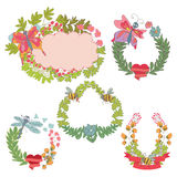 Stylish Vintage floral frame,label set Royalty Free Stock Image