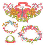 Stylish Vintage floral frame set with butterflies and branches Royalty Free Stock Photography