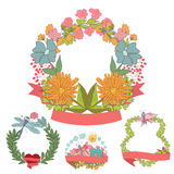 Stylish Vintage floral frame set with butterfly Stock Image