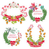 Stylish Vintage floral label with butterflies,bees.Hellow summer Stock Photo