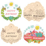 Stylish Vintage floral label with butterflies,bees,sun.Happy bir. Stylish floral  label  set with colored flowers, plants,ribbons,bees,sun,clouds  in Doodle Royalty Free Stock Photos